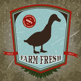 Organic farm fresh. Vintage label with duck. Royalty Free Stock Photo