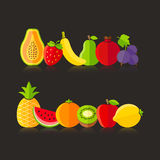 Organic farm fruits illustration in flat style Stock Photo