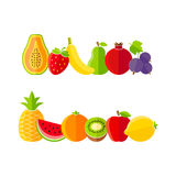 Organic farm fruits illustration in flat style Stock Images
