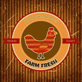 Organic farm funny cartoon label with chicken hen. Royalty Free Stock Image