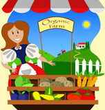 Organic farm girl. Vintage organic farm and farmers market with girl Royalty Free Stock Photos