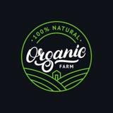 Organic farm hand written lettering logo, label, badge, emblem. Stock Images