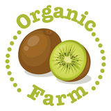 An organic farm label with a kiwi Stock Photos