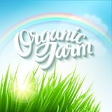 Organic Farm Logo. With grass and rainbow  EPS 10 Royalty Free Stock Photo