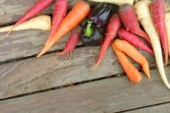 Organic Farm Vegetables Frame Wood Background Stock Photography