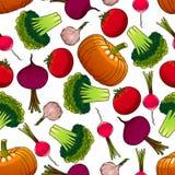Organic farm vegetables seamless pattern Stock Images