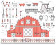 Organic farm in village set and tile in thin lines style design. instruments, flower, vegetables, fruits, hay, farm Royalty Free Stock Photography