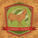 Organic farm vintage label with chicken cock. Stock Photography