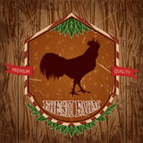 Organic farm vintage label with chicken cock. Royalty Free Stock Images