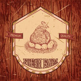 Organic farm vintage label with chicken and eggs. royalty free illustration