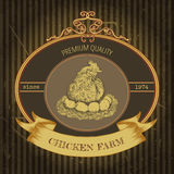 Organic farm vintage label with chicken and eggs. Stock Images