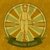 Organic farm vintage label with farmer. Royalty Free Stock Image
