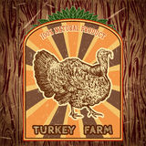 Organic farm vintage label with turkey on the grunge background. Royalty Free Stock Photo