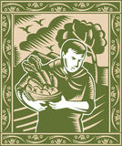 Organic Farmer With Basket Harvest Crops Retro vector illustration