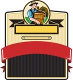 Organic Farmer Carry Basket Badge Retro Stock Photo