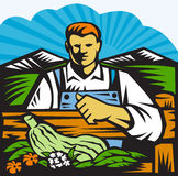 Organic Farmer Farm Produce Harvest Retro Royalty Free Stock Photos