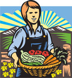 Organic Farmer Farm Produce Harvest Retro stock illustration