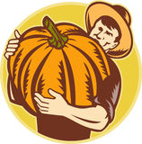 Organic Farmer With Giant Pumpkin Stock Photos