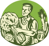 Organic Farmer Green Grocer Vegetable Retro Royalty Free Stock Image