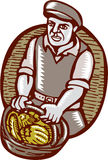 Organic Farmer Harvest Basket Woodcut Linocut Stock Photo