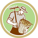 Organic Farmer Holding Rake Harvest Basket Retro Royalty Free Stock Photos