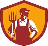 Organic Farmer Pitchfork Crest Retro Stock Photos