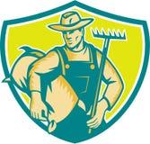 Organic Farmer Rake Sack Shield Woodcut Royalty Free Stock Images
