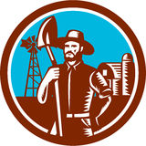 Organic Farmer Shovel Windmill Woodcut Retro Royalty Free Stock Photography