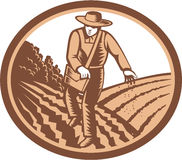 Organic Farmer Sowing Seed Woodcut Retro stock illustration