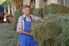 Organic farmer stack bales Stock Photos