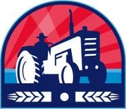 Organic Farmer Tractor Wheat Crest Retro Royalty Free Stock Image