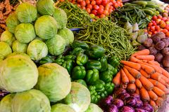 Organic farmers food market place. Fresh healthy products. Vegetables on sale at the local market, close-up, top view stock photography