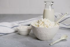 Organic Farming Cottage cheese, curd in a white ceramic  bowl, sour cream and milk Stock Image