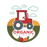 Organic farming logo template with agrimotor on field sign. Organic farming logo template with red agrimotor on field with fresh vegetables round label sign Royalty Free Stock Image