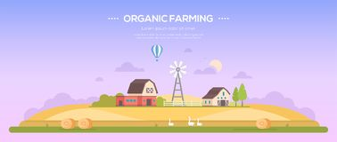 Organic farming - modern flat design style vector illustration. On purple background with place for text. A countryside landscape with a field, barns, windmill Stock Photos