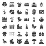 Organic farming products icon set, solid style. Organic farming products icon such as hen, milk, orange, tomato in solid style stock illustration