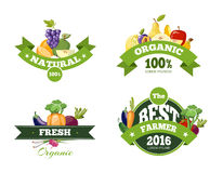 Organic farming products vector labels, emblems, badges, logos, stickers set Stock Images