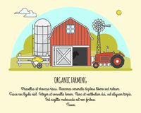 Organic farming vector illustration in linear style Royalty Free Stock Images