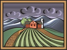 Organic Farming Vector Illustration in Woodcut Style Royalty Free Stock Photos