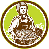 Organic Female Farmer Farm Produce Harvest Woodcut stock illustration