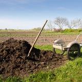 Organic fertilizer. Pile of organic fertilizer near to the vegetable garden royalty free stock photo