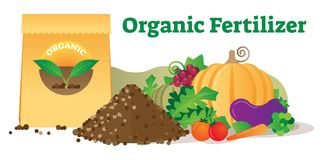 Organic fertilizer conceptual vector illustration with package, leafs, soil and vegetables. Ecological agriculture farming. Natural and green thinking for human Royalty Free Stock Image