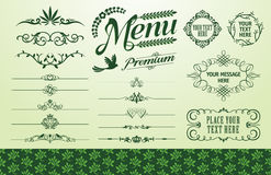 Organic fillet set. Organic frame fillet and seamless background set Stock Image