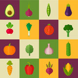 Organic flat vegetable icons Royalty Free Stock Image