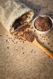 Organic flax in a bowl. Grain-linseed-healthy-seed stock image