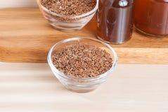 Organic flax seeds - Linum usitatissimum royalty free stock photos