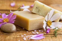 Organic floral soap.Natural skincare soaps Royalty Free Stock Image
