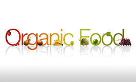 Organic Food. High Resolution Organic Food Graphic with fruits Stock Image