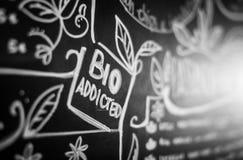 Organic food advisory text bio addicted close up royalty free stock photos