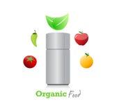 Organic food around a fridge. illustration Royalty Free Stock Photos